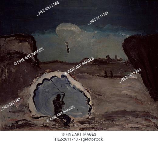A parachutist, 1932. Artist: Drevin, Alexander Davidovich (1889-1938)