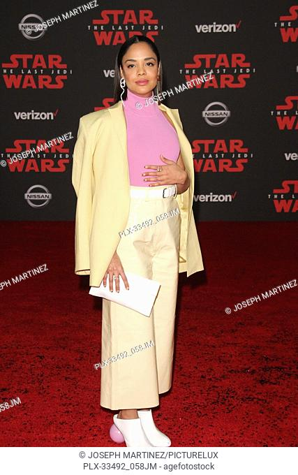 """Tessa Thompson at the World Premiere of Lucasfilm's """"""""Star Wars: The Last Jedi"""""""" held at the Shrine Auditorium in Los Angeles, CA, December 9, 2017"""