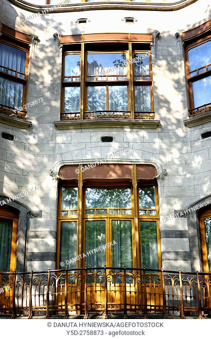 front facade - Art Nouveau Solvay Hotel by Victor Horta, together with three other town houses of Victor Horta, including Horta's own house and atelier