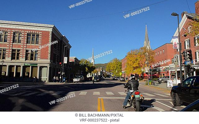 Montpelier Vermont Capital city smallest in the USA downtown Main Street with traffic