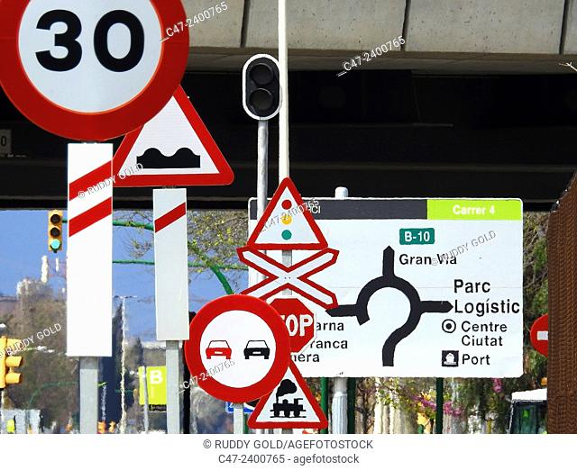 Traffic signs, Barcelona, Spain