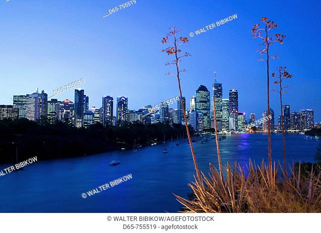 Australia - Queensland - Brisbane: Evening View of the Central Business District along the Brisbane River from Kangaroo Point