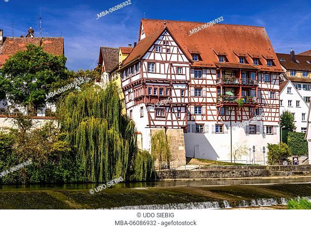 Germany, Baden-Wurttemberg, Swabian Alb, Upper Danube, Riedlingen, townscape, view of Danube Island