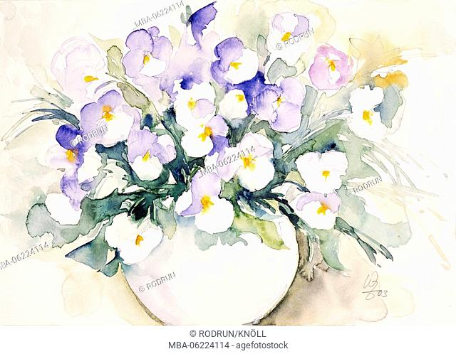 Watercolor by Waltraud Zizelmann, blue and white pansies in a Vase