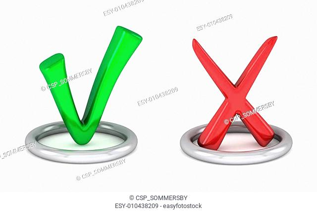 3d green tick sign and Red cancel check mark