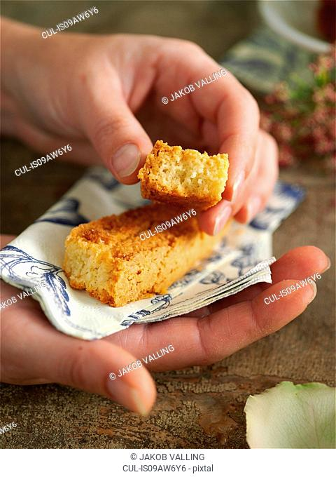 Woman hands holding napkin and homemade cake