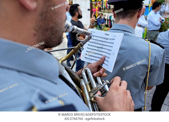 Parade of the music band at the patron saint's day (end of August) in Ostuni. Ostuni is a city and comune, located about 8 km from the coast