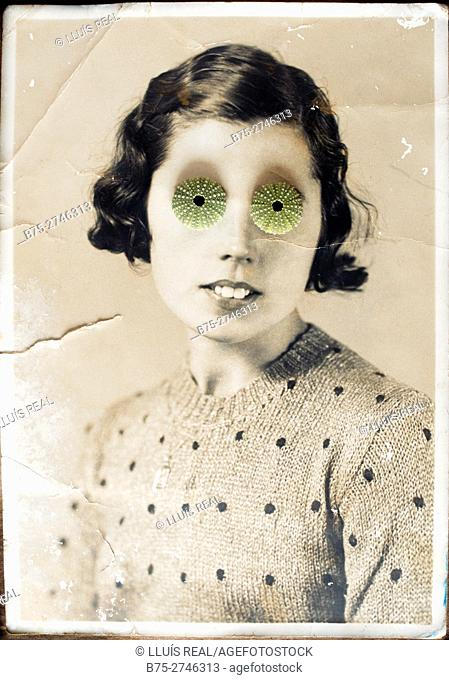 Antique portrait of young woman looking at the camera, with two sea urchins covering her eyes