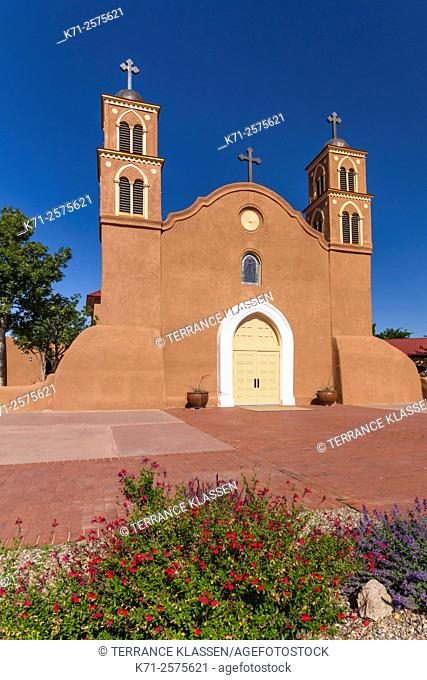 The Old San Miguel Mission Church complex in Socorro, New Mexico, USA