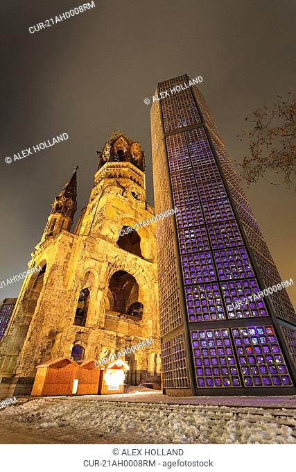 The Kaiser Wilhelm Memorial Church, or Kaiser-Wilhelm-Gedv§chtniskirche, in Berlin was damaged heavily in the Second World War and the damaged spire remains...