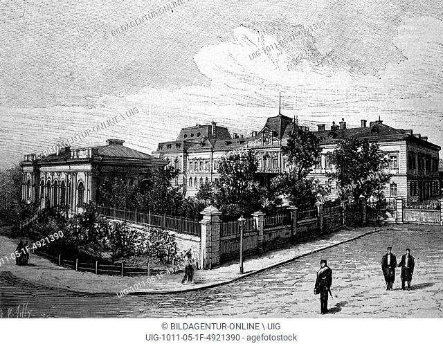 Palace of the prince of bulgaria in sofia, bulgaria, historical illustration, circa 1886