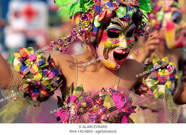 Portrait of a masked dancer at Mardi Gras carnival, in Iloilo City on Panay Island, Philippines, Southeast Asia, Asia