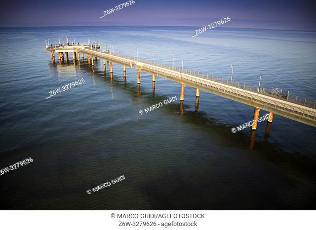 Top view of the Marina di Pietrasanta pier in Versilia Tuscany Italy