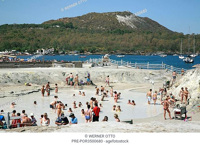 Sulfur mud bath in a hot spring in Porto di Levante, Vulcano Island, Sicily, Italy, Europe