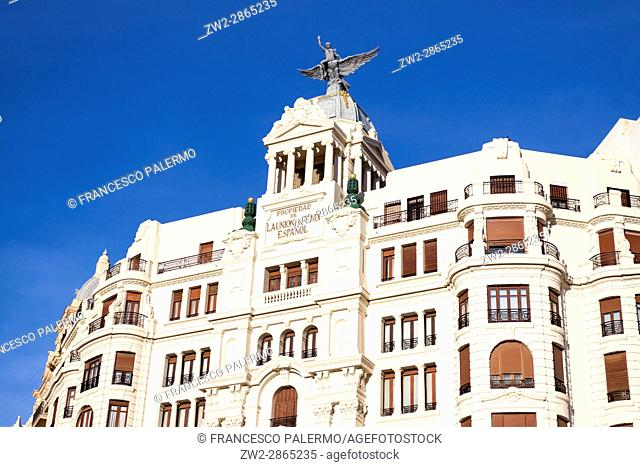 Facade of buildings in front of north railway station. Valencia, Spain