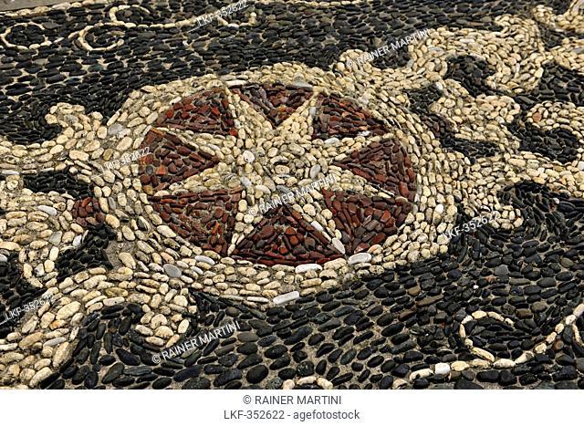 Mosaic of stones, Moneglia, Liguria, Italy, Europe