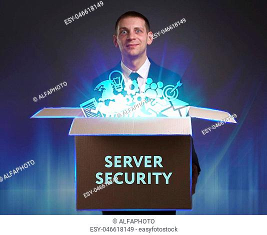 Business, Technology, Internet and network concept. Young businessman shows the word: Server security