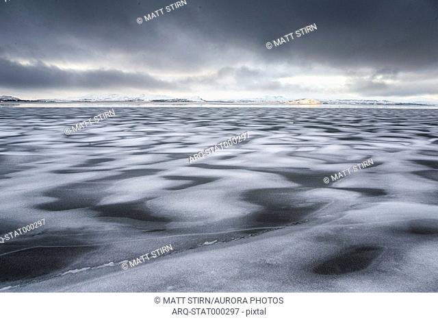 Beautiful natural polar scenery of frozen lake, Ring Road, Iceland