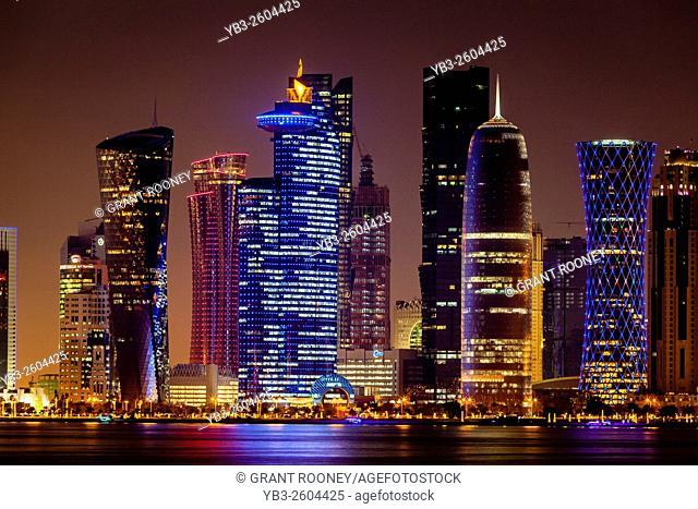 Doha Skyscrapers At Night, Doha, Qatar
