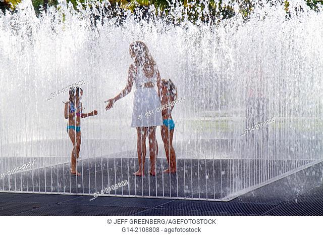 Florida, Miami Beach, Art Basel, Art Public, Collins Park, fountain, water, woman, mother, girl, daughter