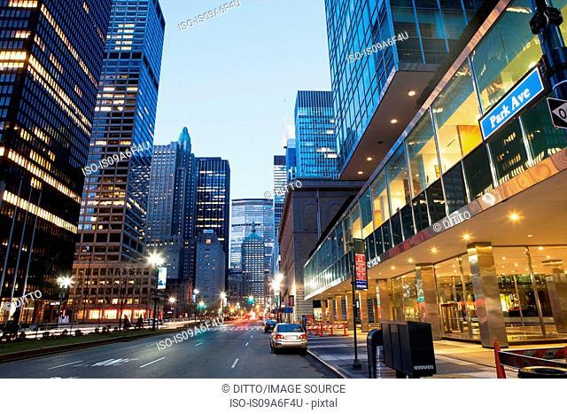 Park avenue at dusk, New York City, USA