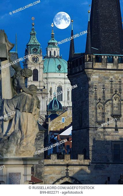 Mala Strana Tower King Charles Iv Bridge. Prague. Czech Republic