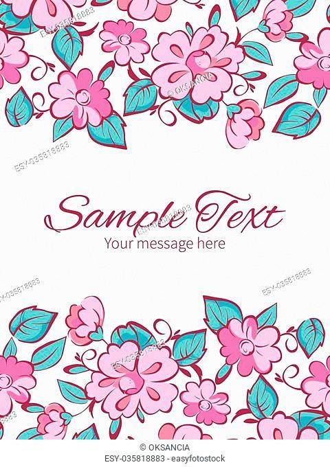 Vector pink blue kimono flowers vertical double borders frame invitation template graphic design