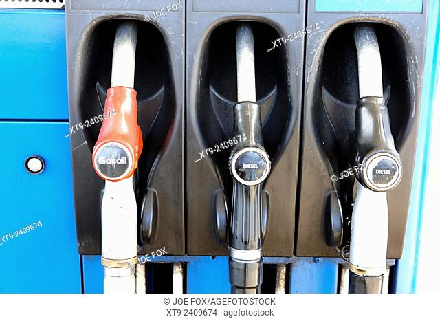 gas oil diesel and high speed biofuel diesel pumps at a petrol station northern ireland