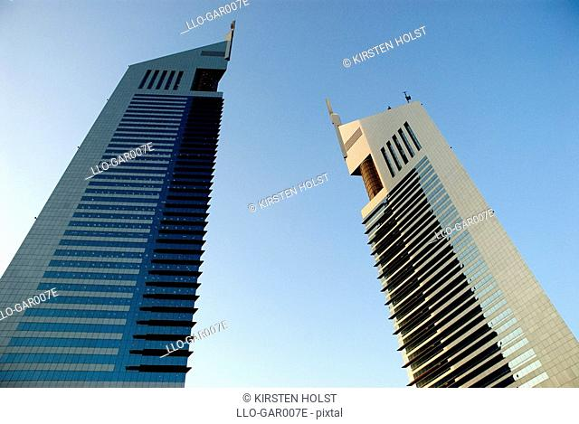 An Upward View of the Emirates Towers  Dubai, United Arab Emirates