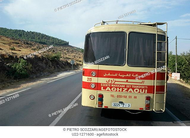 Marrakesh (Morocco): bus on the road to Ifrane