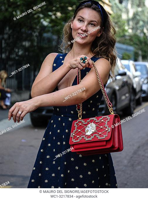 MILAN, Italy- September 20 2018: Angelica Ardasheva on the street during the Milan Fashion Week