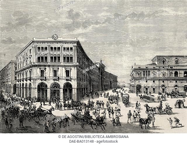 Porticos along via Roma street and via San Carlo, Naples, Italy, drawing by Bonamore, engraving from L'IIllustrazione Italiana, no 32, August 6, 1882