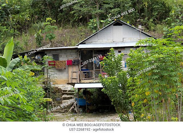 A wooden Bidayuh house in Kampung Bengoh, Sarawak, Malaysia