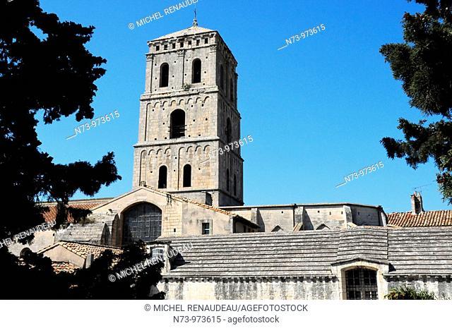 France, Bouches du Rhône, Arles, le cloître de l'église Saint-Trophime classée Patrimoine Mondial de l'UNESCO, Primatiale Saint Trophime