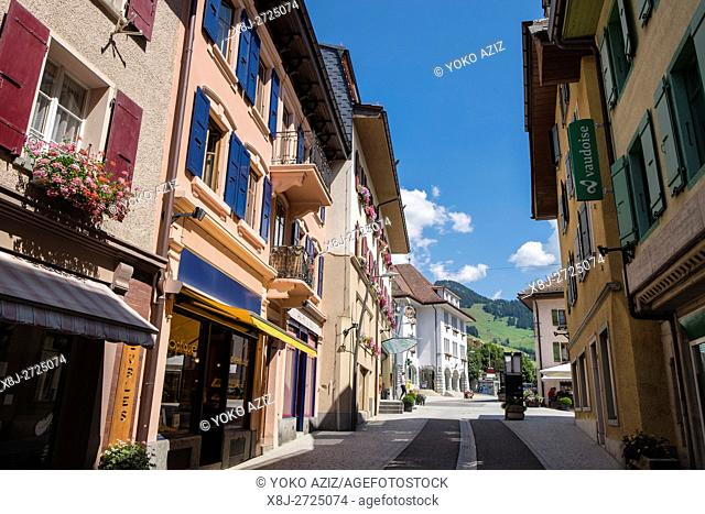 Switzerland, Canton Vaud, Chateau d'Oex, old town