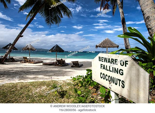Unusual beware falling coconuts sign White Beach Boracay Philippines