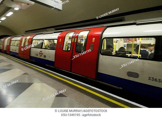 Northern line train at waterloo station on london underground   London Underground Tube filmed under film permit issued by Kate Reston London Underground Film...