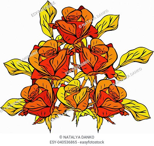 hand-drawn bouquet of yellow roses with yellow leaves isolated on white background