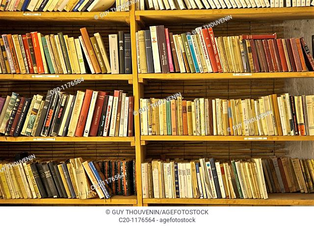 ancient books on shelves second hand book shop Le Sommail 34 Herault france
