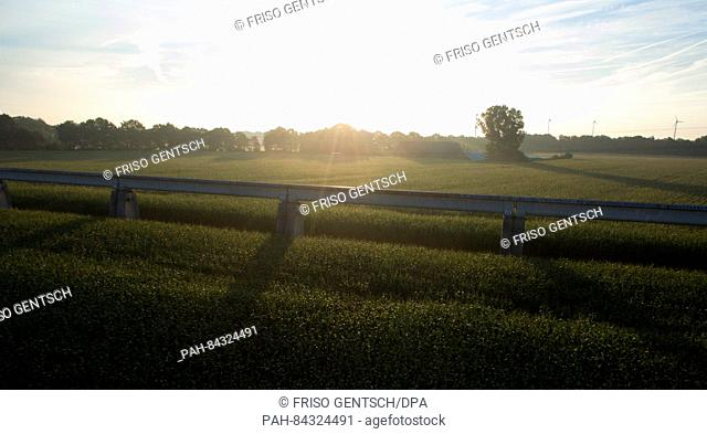 A drone photo showing a part of the Transrapid railway track in Lahten, Germany, 6 September 2016. Ten years ago, on 22 September