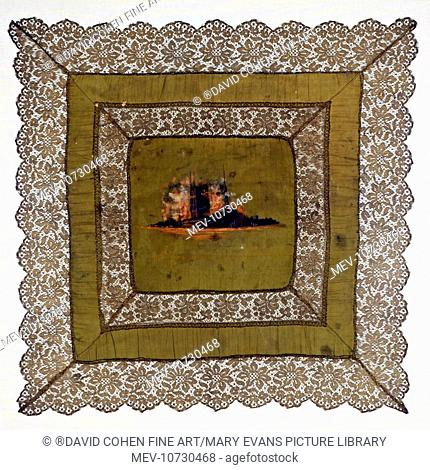 A very fine lace and hand-painted silk cushion-cover showing the Cloth Hall, Ypres, on fire, c. 1914. This was given to Private 40520 Adam Shaw