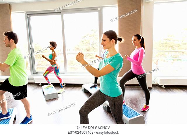 fitness, sport, exercising, aerobics and people concept - group of smiling people working out on step platforms in gym