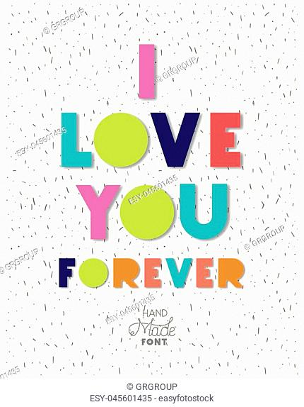 love message with hand made font vector illustration design