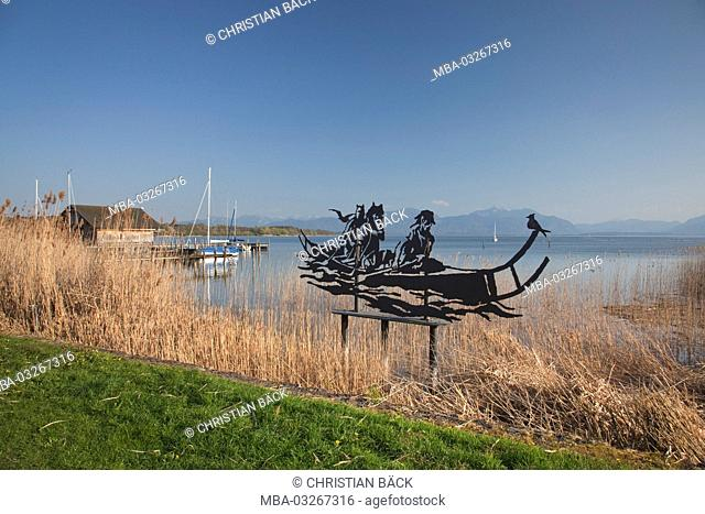 Sculpture 'Celts' ship' in Seebruck in Chiemsee, Seeon-Seebruck, Chiemgau, Upper Bavaria, Bavaria, South Germany, Germany