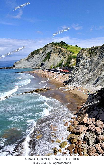 'Flysch' rock strata, Itzurun beach, Zumaia, Guipuzcoa, Basque Country, Spain