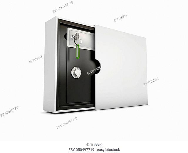 Safe lock code safety box bank, 3d Illustration