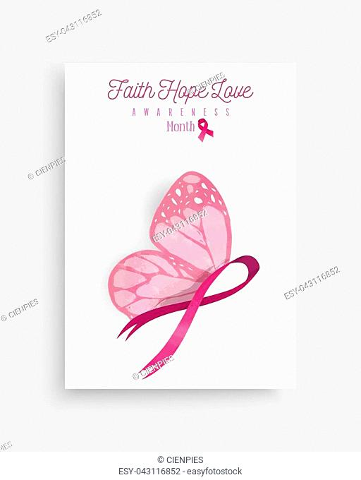 Breast cancer awareness month illustration with pink hand drawn ribbon butterfly art for support campaign. EPS10 vector