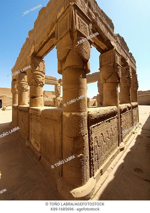 Colonnade. Dendera temple dedicated to Hathor goddess. Upper Egypt