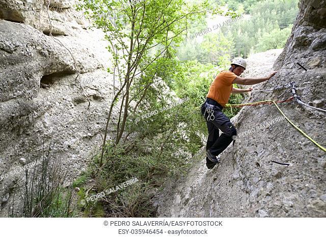 Ferrata in Vadiello, Guara Mountains, Huesca, Aragon, Spain