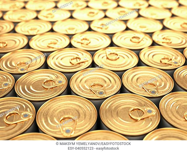 Food tin cans. Groceries background with dof